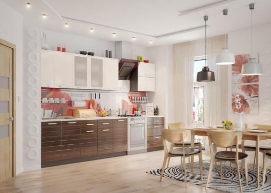 Прямая кухня с белыми и коричневыми фасадами