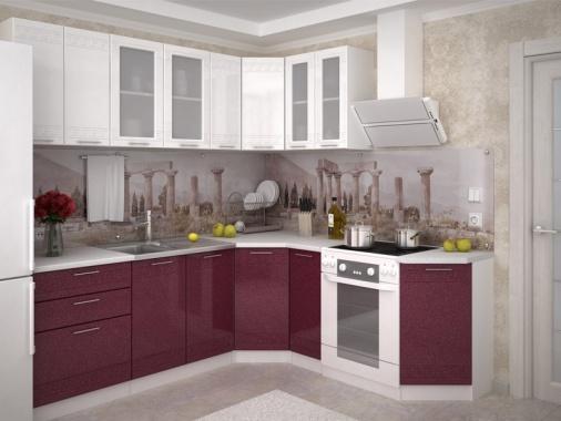 Бордовая угловая кухня с белыми фасадами МДФ